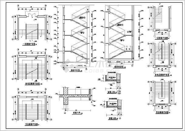 某中学教学楼建筑设计图(平面图,立面图,剖面图)