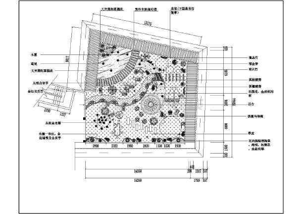 某屋顶凉亭休闲区平面规划设计图纸