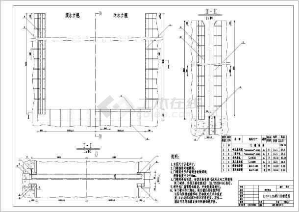 某2.0mx1.2m闸门图纸平板布置图_cad结构下载18u机柜cad图片