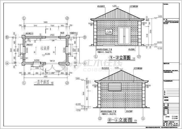 某垃圾收集点垃圾房建筑设计施工图_cad图纸下载-土木