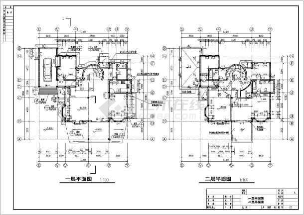 某地三层框架结构小型别墅建筑方案设计图