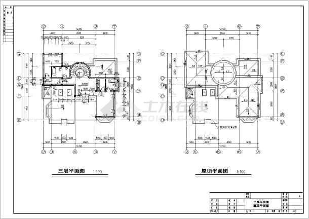 某地三层框架结构小型别墅建筑方案设计图图片