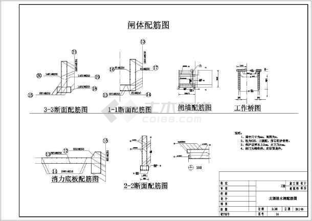 某灌区进水闸建筑设计方案图纸(含结构配筋图)