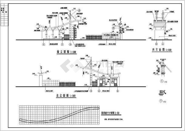 某学校大门及门卫室建筑设计施工图