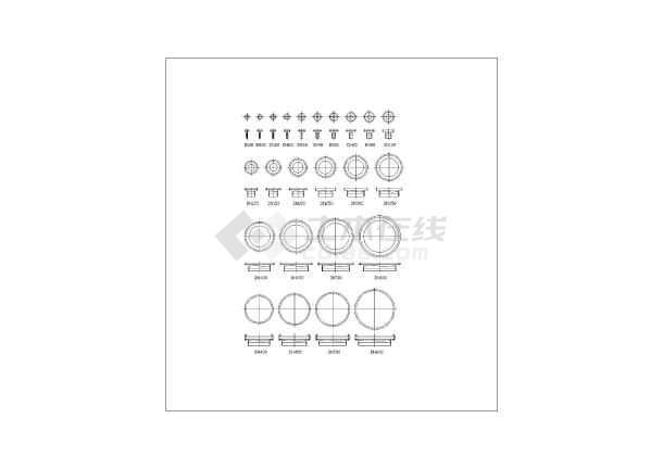 各种图纸的大小规格CAD平面图剖面图_cad图平开门法兰符号字母上图片