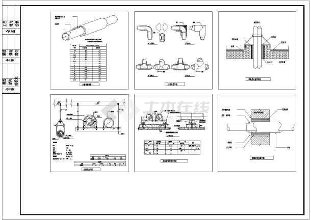 暖通类目风管安装节点的大样设计图纸_cad图