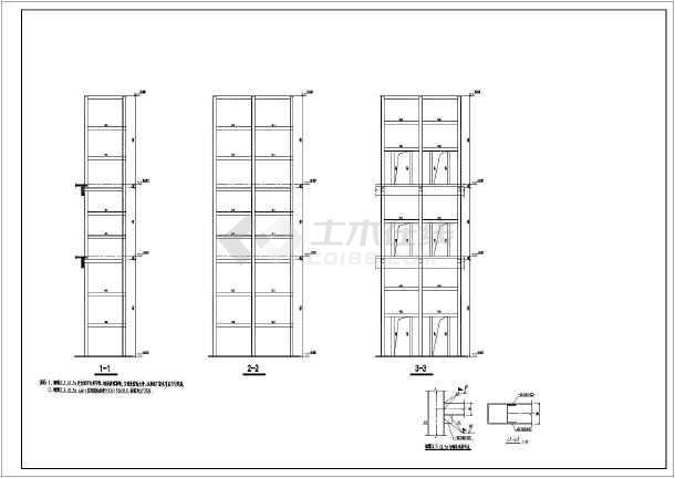 钢结构连廊(滑动支座)及观光电梯结构图