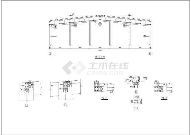 某混凝土轻型钢屋架结构厂房设计施工图