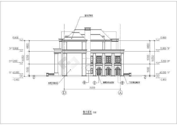 某地三层欧式豪华会所建筑设计方案图