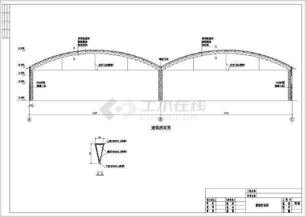 24米兩聯跨鋼管桁架排架結構大棚建筑結構施工圖