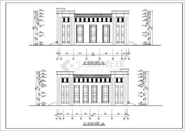 某单层网架型结构培训楼建筑和结构施工图