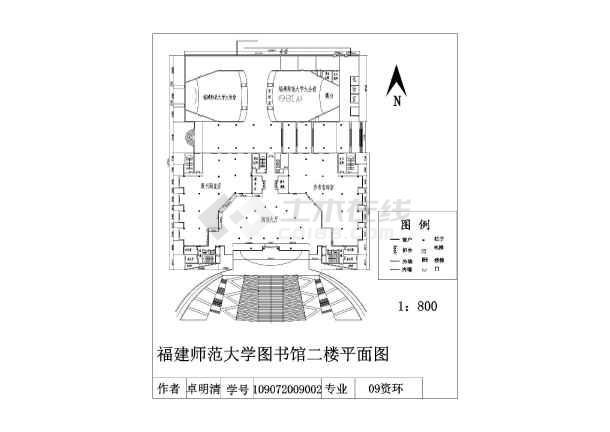 某地框架结构小型图书馆设计施工图(cad平面图)