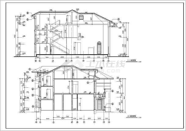 某地精美二层半欧式别墅建筑设计图