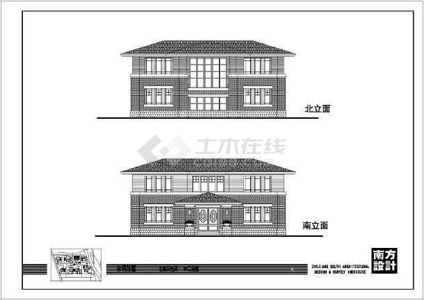 某中式大方二层农村房屋建筑设计图图片