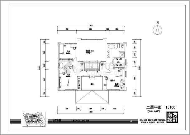 某中式大方二层农村房屋建筑设计图