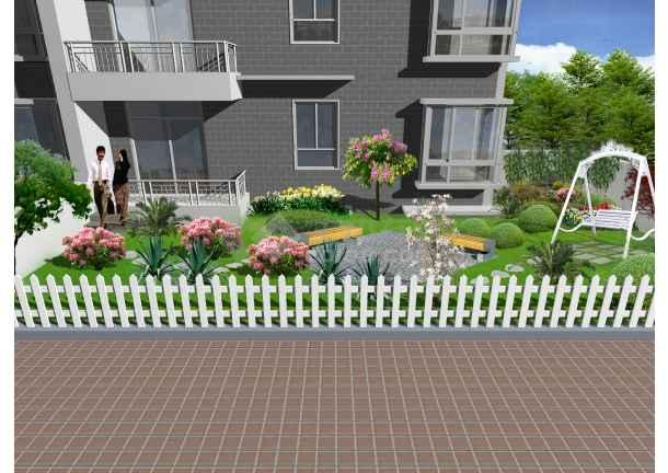 别墅小庭院绿化效果图