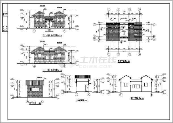 某地单层砖混结构小型公厕建筑设计施工图