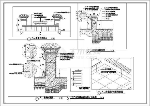 喷泉手绘平面立面图