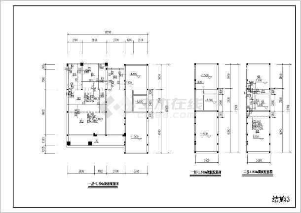 某三层砖混结构小区别墅结构施工图