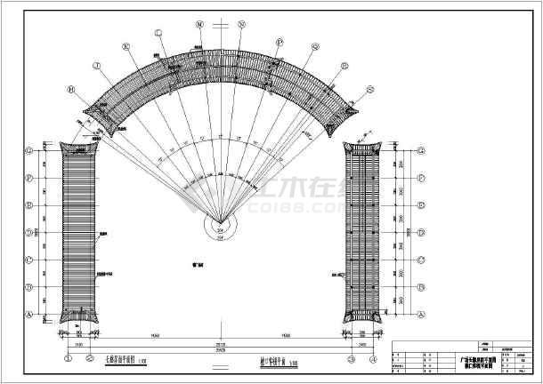 某地一层框架长廊仿古方案建筑结构设计版本图cad多用最的哪个的是结构图片