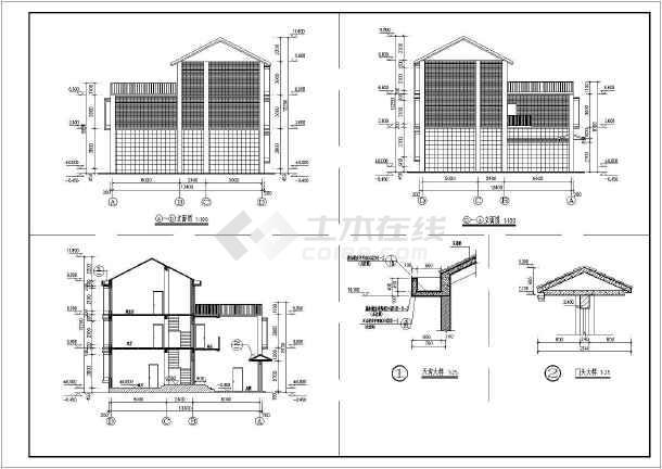 某地区三层框架结构联排别墅建筑设计施工图