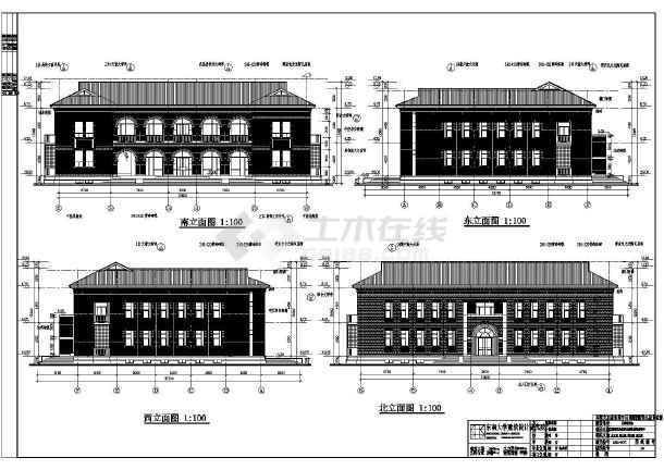 某地2层风格全套民国框架商业建筑结构施工图大葱图纸单行手推式点播机图片