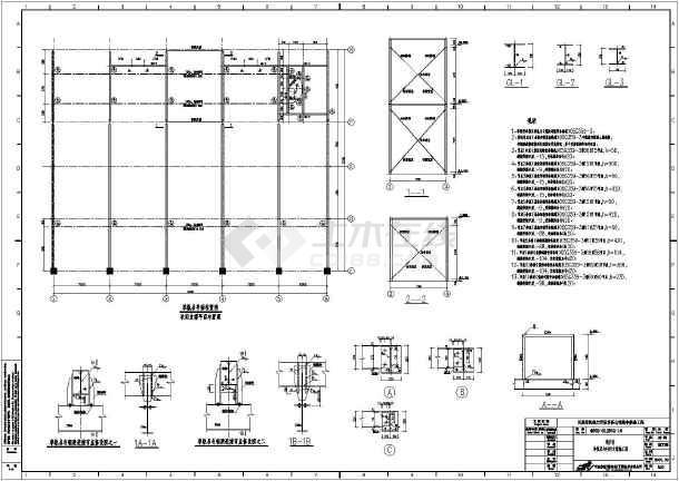 某地框结构景观供暖锅炉房图纸v结构排架_cad结构cad手绘剖面图图片