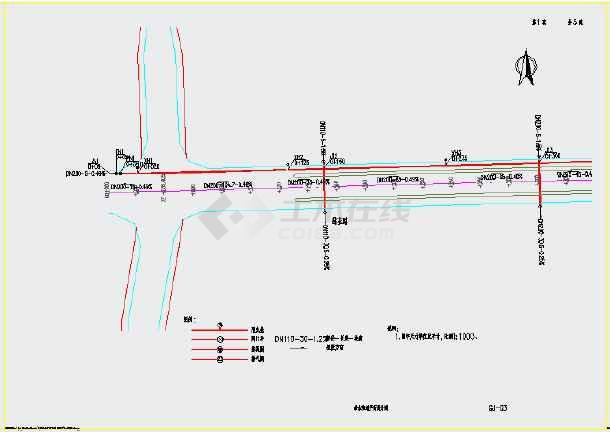市政道路给水管线设计图
