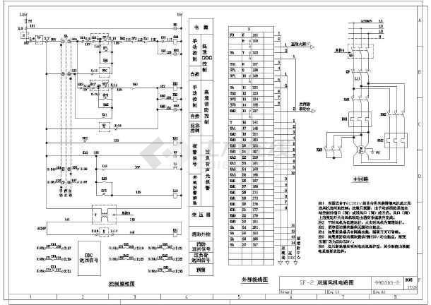 包含y(j)f-1 排烟(正压送风)风机电路图,sf-3 双速风机电路图等多张