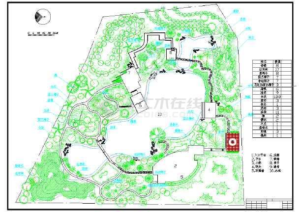 某地区晖园展览设计总平面图(含材料表)