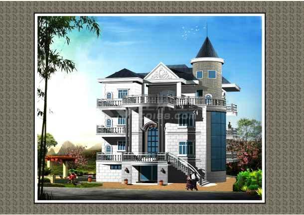 三层带阁楼框架结构复古独栋别墅建筑结构图(含效果图)