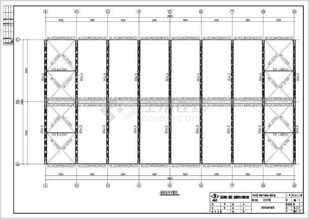 某酒厂不锈钢自行车棚结构施工图纸图片