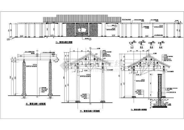 廊架的底平面图,廊架顶平面图
