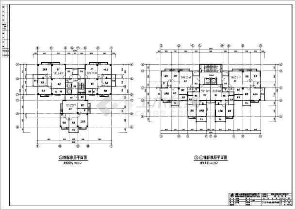 塔式建筑,二层裙楼商业设计,其余为住宅楼,图纸内容包含:各地下层平面