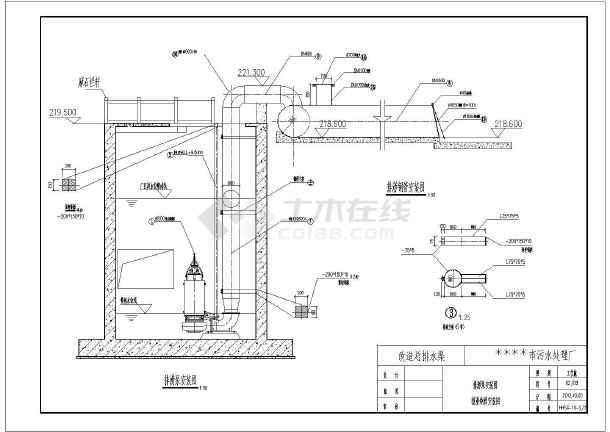 某地大型厂房污水排涝站渠结构图纸