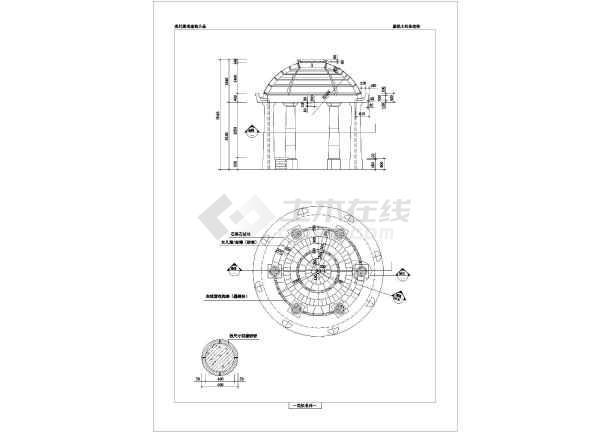简欧式六柱圆顶景观园林休闲亭施工图