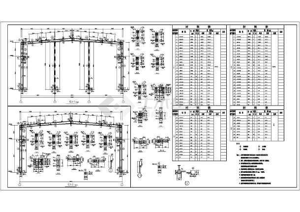 采用门式刚架结构体系,包括:结构设计说明,基础平面布置图,屋面结构布