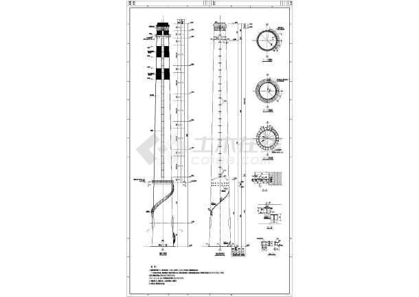 该图纸为混凝土立柱钢架屋盖直行车棚施工图,图纸包括:烟囱设计总图片