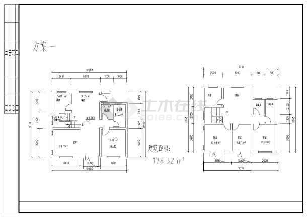 某地两层住宅建筑设计户型平面图方案图片