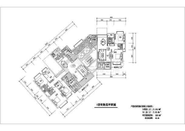 某三层别墅建筑设计施工图及各种户型平面图