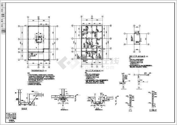 地下钢筋混凝土消防刀柄建筑结构施工图_cad虎头水池图纸图片