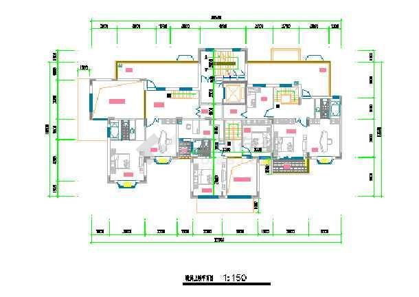 某小区一梯三户住宅户型平面设计图纸