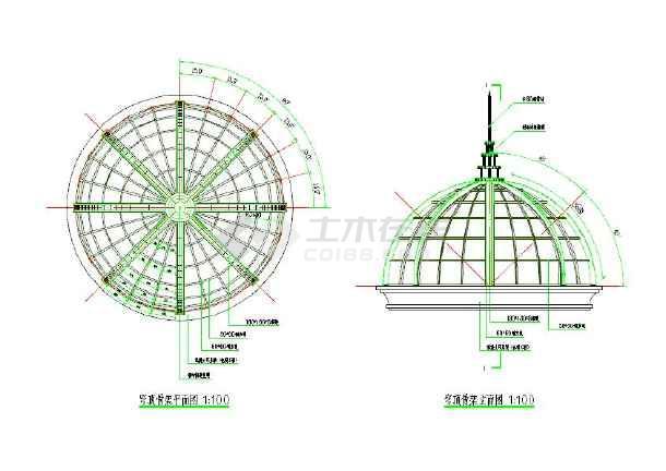 欧式钢结构玻璃穹顶建筑设计cad施工图