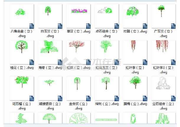 园林景观cad设计图块比例cad图块单个树cad图cad复制花草因子指定图片