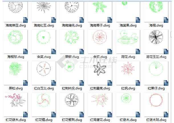 园林景观cad设计图块单个cad图块钩子树cad图cad花草图片