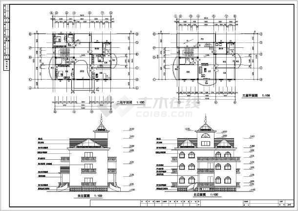 图纸内容包括:西立面图,二层平面图,北立面图,剖面图,楼梯大样图,门窗