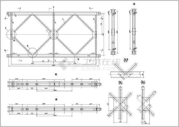 某项目贝雷梁桁架及桥座制作结构图