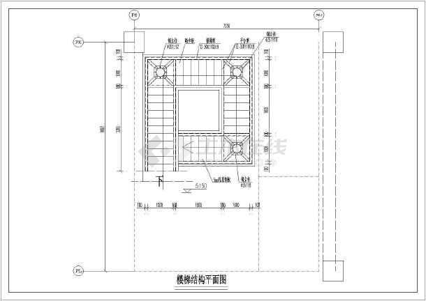 某地商场矩形回转钢结构楼梯设计图图片