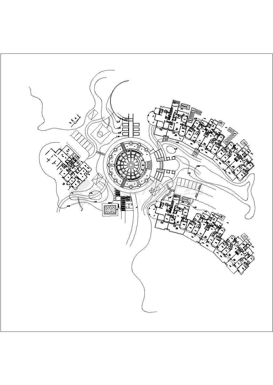 某小区中心圆形广场铺装施工平面