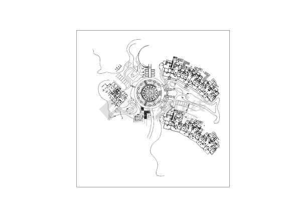 某小区中心圆形广场铺装施工平面图